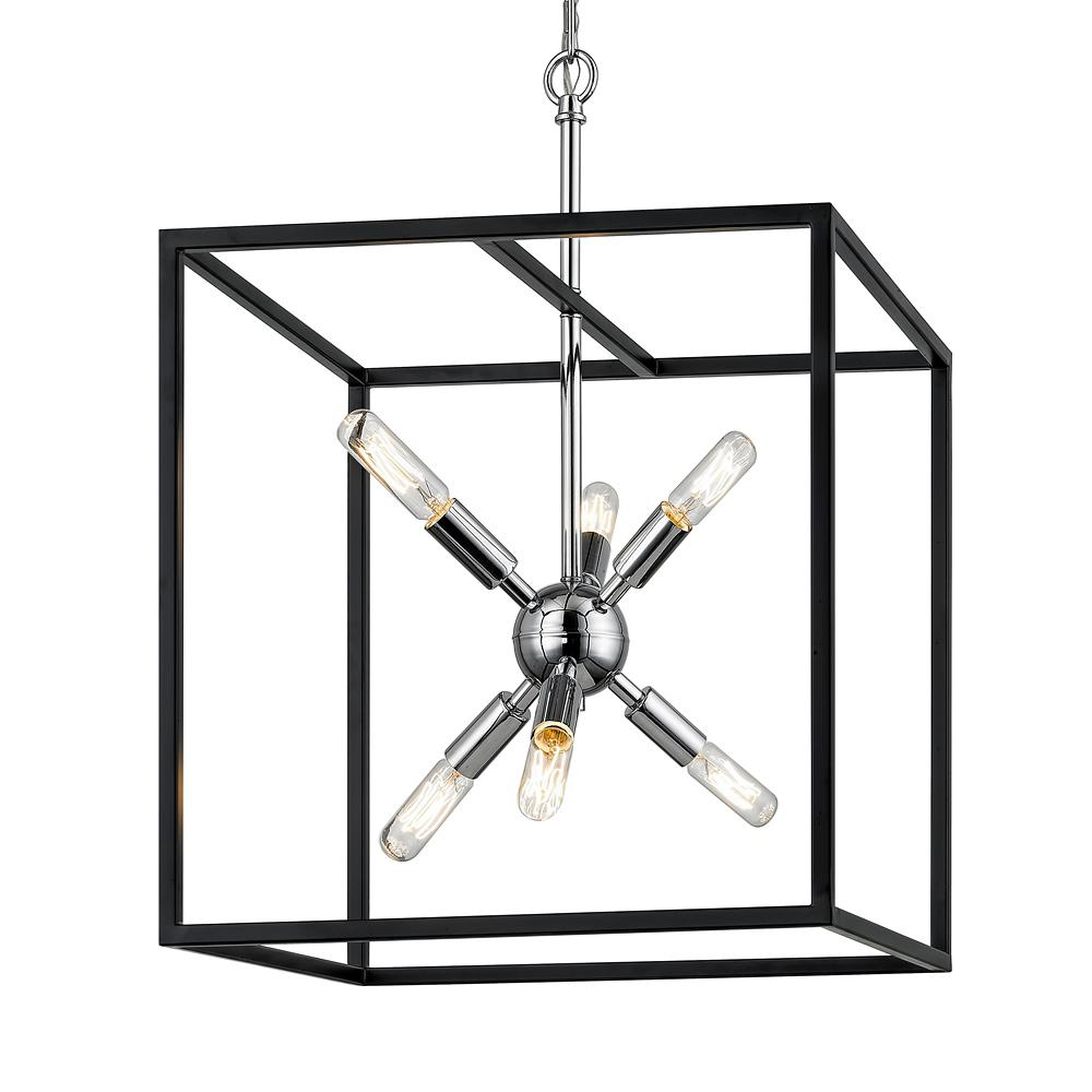 FifthandMainLighting Fifth and Main Lighting Halley 16 in. 6-Light Matte Black with Polished Chrome Pendant