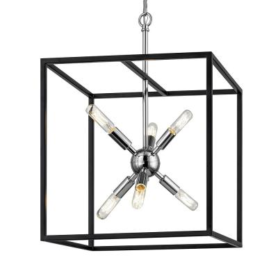 Halley 16 in. 6-Light Matte Black with Polished Chrome Pendant