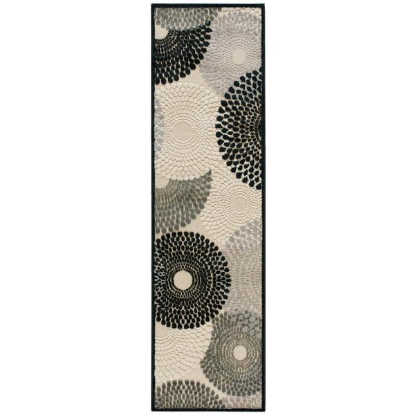 Graphic Illusions Parchment 2 ft. x 8 ft. Geometric Modern Runner Rug