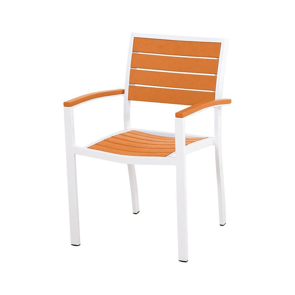 Perfect Euro Satin White/Tangerine Patio Dining Chair