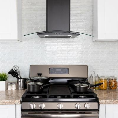 30 in. 217 CFM Convertible Wall Mount Range Hood with Tempered Glass and Carbon Filters in Black Painted Stainless Steel