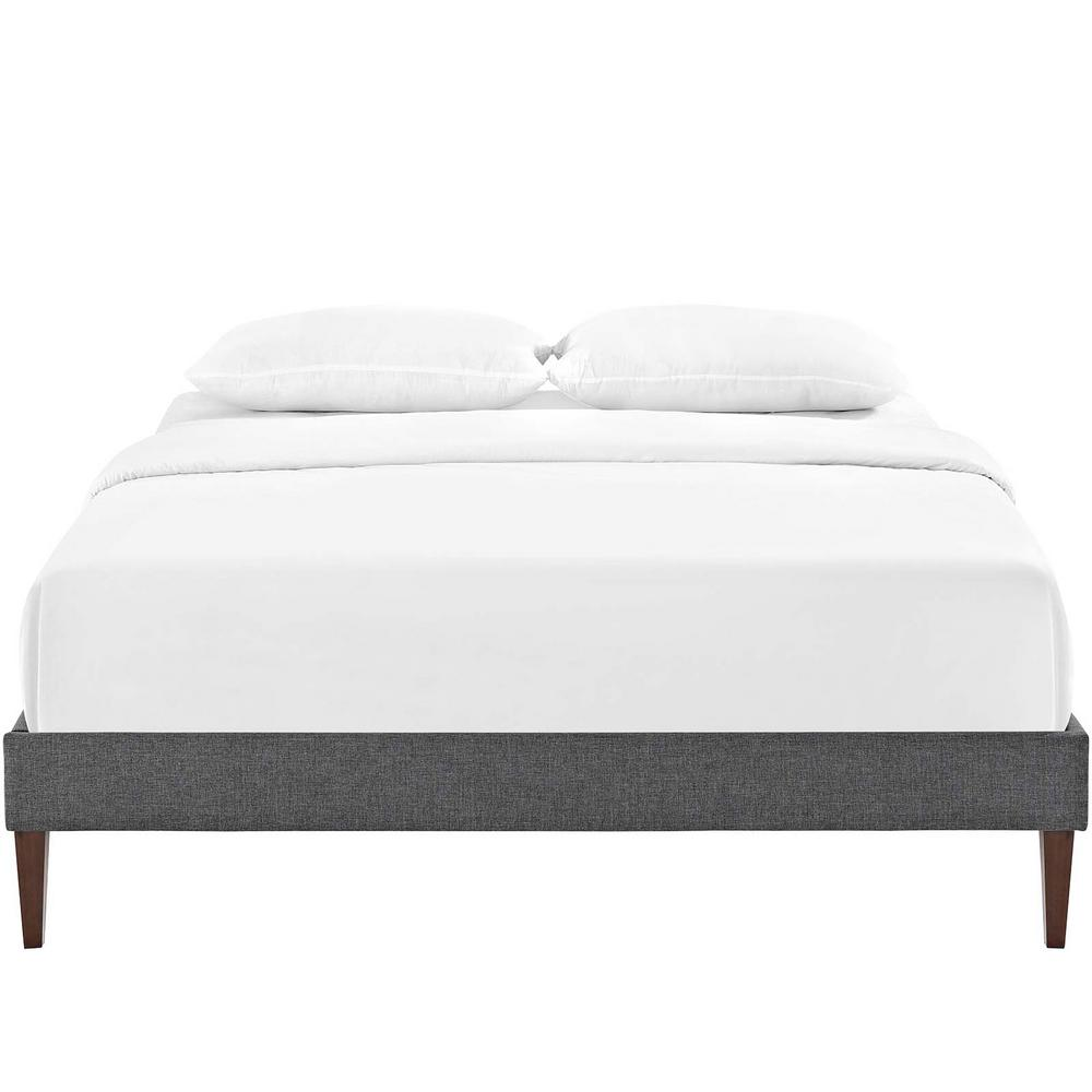Tessie Gray King Bed Frame with Squared Tapered Legs