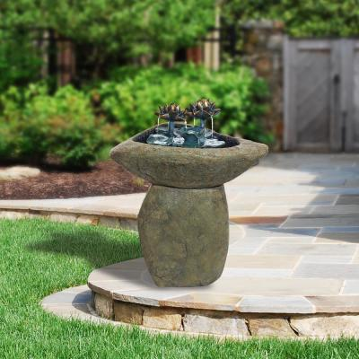 """Alpine Corporation 30"""" Tall Outdoor Pedestal Lotus Rock Waterfall Fountain with LED Lights"""