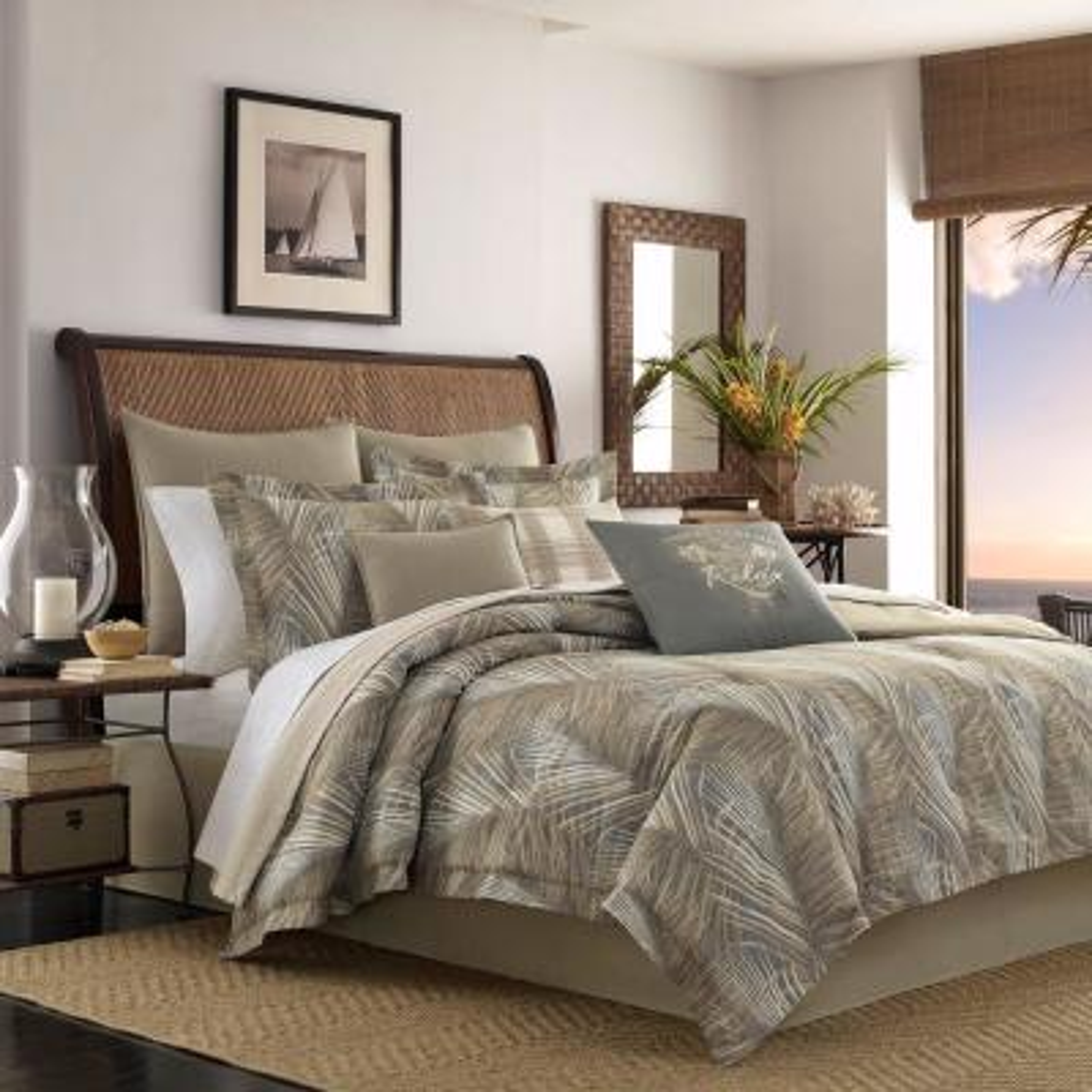 Raffia Palms Grey 4-Piece Queen Comforter Set
