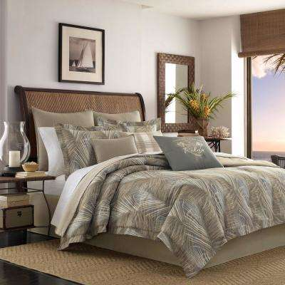 Raffia Palms 3-Piece King Duvet Cover Set