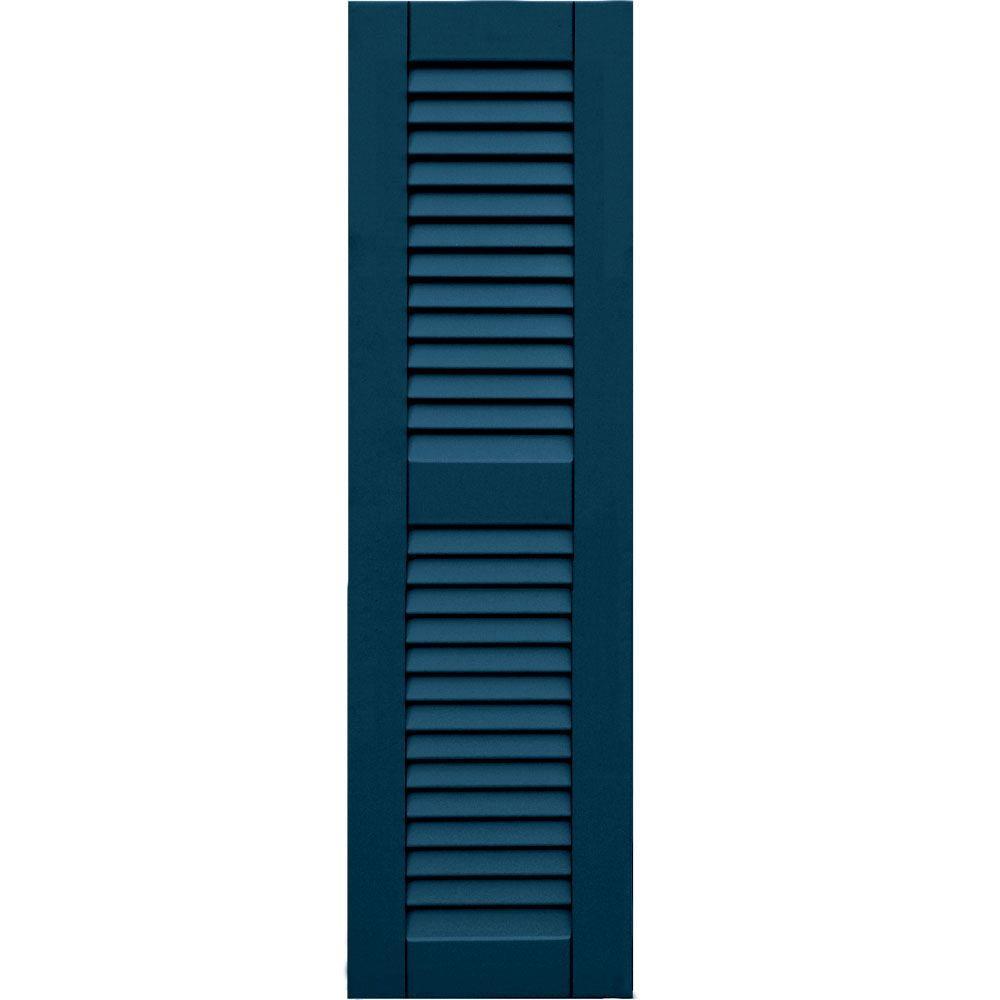 Winworks Wood Composite 12 in. x 42 in. Louvered Shutters Pair #637 Deep Sea Blue