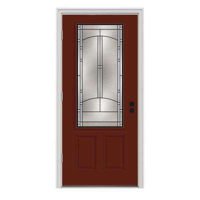 32 in. x 80 in. 3/4 Lite Idlewild Mesa Red w/ White Interior Steel Prehung Right-Hand Outswing Front Door w/Brickmould
