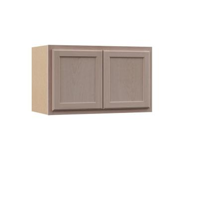 Hampton Assembled 30x18x12 in. Wall Bridge Cabinet in Unfinished Beech