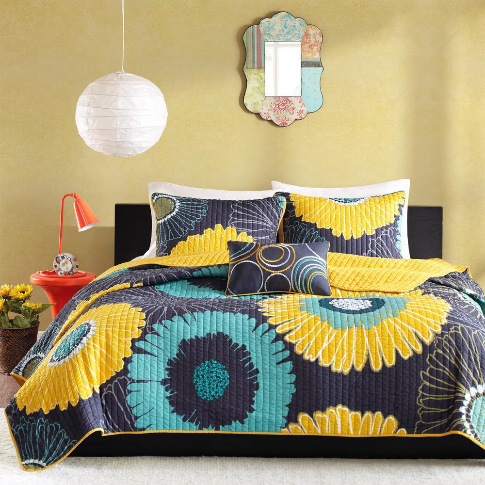 Mi Zone Iris 4-Piece Yellow Full/Queen Floral Coverlet Quilt Set MZ80-203