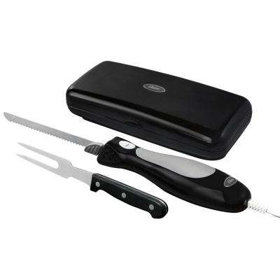 12 in. Stainless Steel Electric Knife Slicer and Carving Fork Set with Storage Case