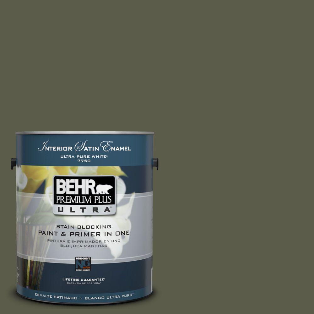 BEHR Premium Plus Ultra 1-Gal. #UL200-23 Fig Leaf Interior Satin Enamel Paint