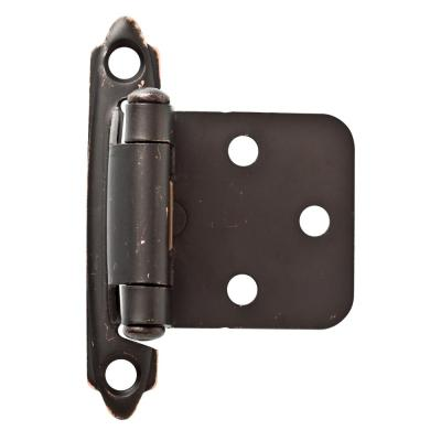 Venetian Bronze with Copper Highlights Self-Closing Overlay Cabinet Hinge (1-Pair)