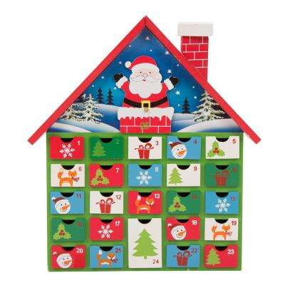 Wooden House Count Down Calendar Decor with Drawer