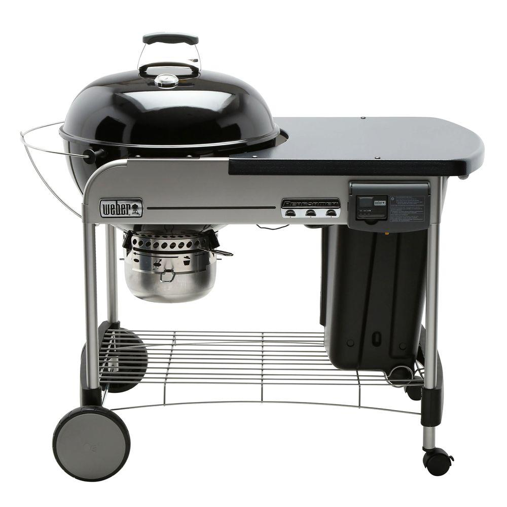 22 in. Performer Deluxe Charcoal Grill in Black with Built-In Thermometer