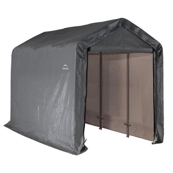 6 ft. W x 12 ft. D x 8 ft. H Peak-Style Steel Shed-In-A-Box Storage Shed in Grey with Patented Stabilizers