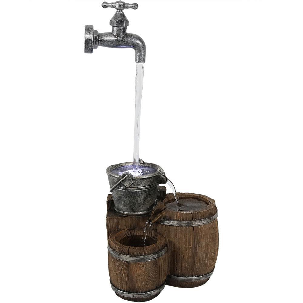 Sunnydaze Decor Floating Faucet And Barrel Tabletop
