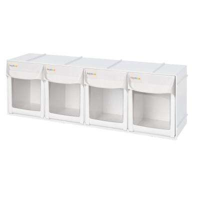 Patented Ultimate Tip Out Series 24 in. Crafts and Hardware Organizer Plastic Storage Bin with 4-Large Compartments