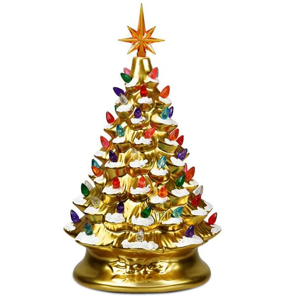 15 in. Gold Ceramic Tabletop Christmas Tree with Lights