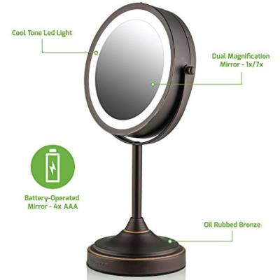 LED Lighted Tabletop Makeup Mirror, 7 Inch, Dual-Sided 1x/7x Magnification, Oil Rubbed Bronze (MCT70BZ1X7X)