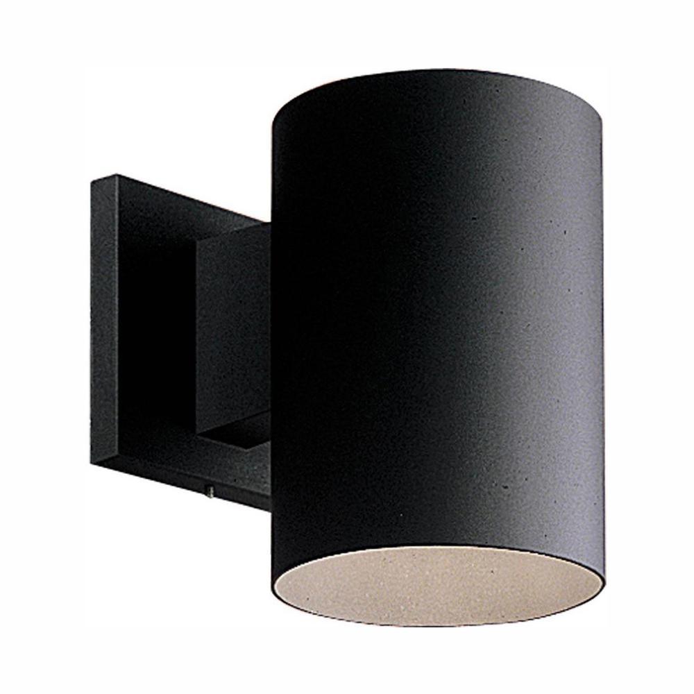 Progress Lighting 1-Light Black Integrated LED 7.5 in. Outdoor Wall Mount Cylinder Light
