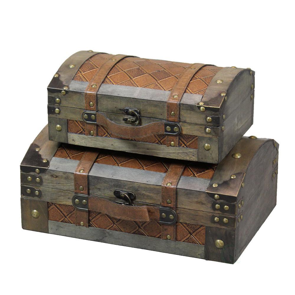 Vintiquewise Decorative Leather Treasure Box//Trunk Set of 2