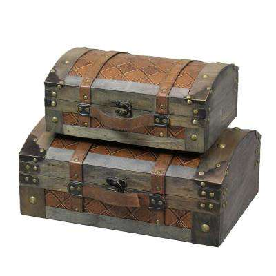 Rustic Gray Vintage Luggage Style Wooden Treasure Chests Trunks (Set of 2)