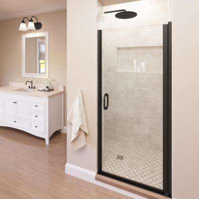 Infinity 28 in. x 72 in. Semi-Frameless Hinged Shower Door in Oil Rubbed Bronze with AquaGlideXP Clear Glass