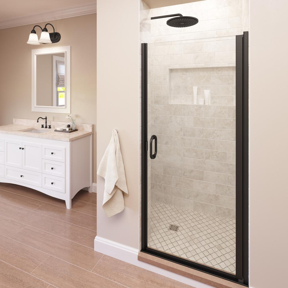 Semi frameless hinged shower door in