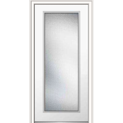 32 in. x 80 in. Micro Granite Right-Hand Inswing Full Lite Decorative Painted Fiberglass Smooth Prehung Front Door