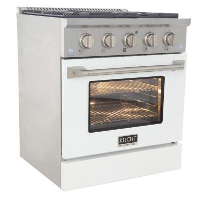 Pro-Style 30 in. 4.2 cu. ft. Propane Gas Range with Sealed Burners and Convection Oven in White Oven Door