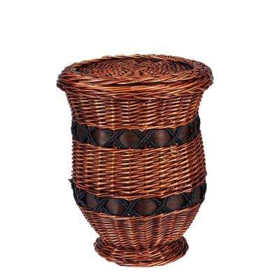 16.5 in. x 12.5 in. Small Willow Poplar Wicker Basket Urn Table