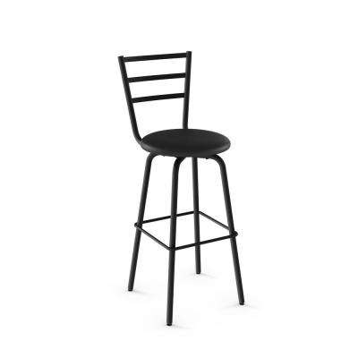 Sandy 26 in. Textured Black Metal Black Polyurethane Counter Stool
