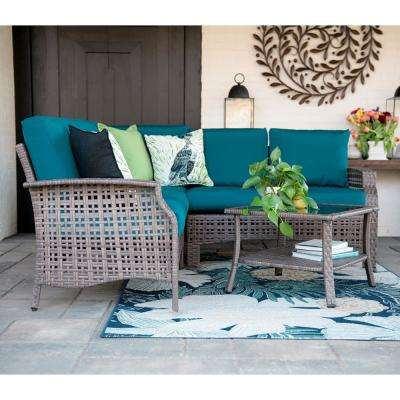 Concord 4-Piece Wicker Outdoor Sectional Set with Peacock Cushions