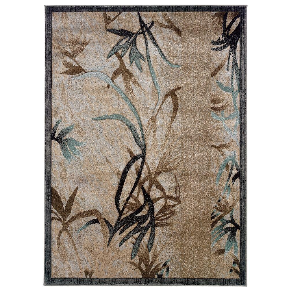 Linon Home Decor. Milan Collection Beige And Aqua 5 Ft. X 8 Ft. Indoor Area  Rug