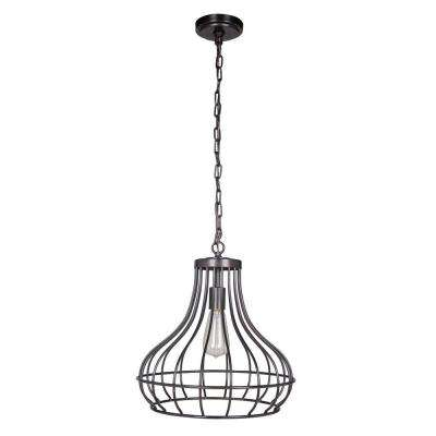 Hardwired Pendant Series 1-Light Brushed Bronze Pendant with Curved Bottom Cage