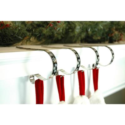 2.5 in. Metal Silver with White Snowflakes MantleClip Stocking Holder (4-Pack)