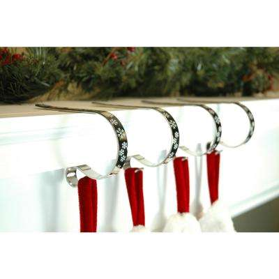 Christmas Stocking Hooks For Mantle.2 5 In Metal Silver With White Snowflakes Mantleclip Stocking Holder 4 Pack