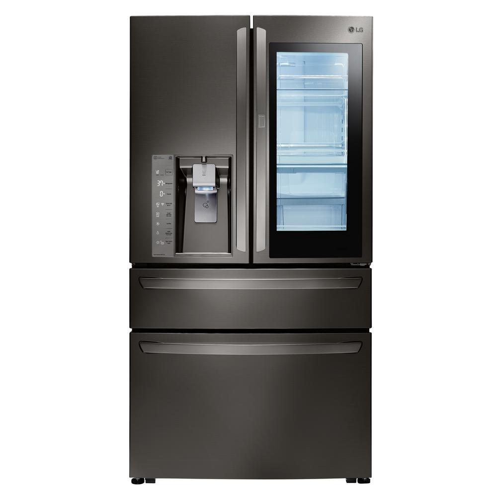 23 cu. ft. 4-Door French Door Refrigerator with InstaView Door-in-Door in Black Stainless Steel, Counter Depth