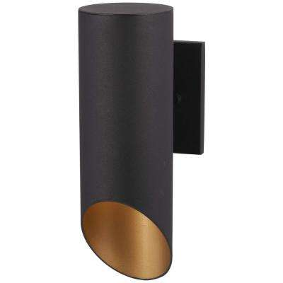 Pineview Slope Collection 1-Light Black with Gold Outdoor Wall Lantern Sconce