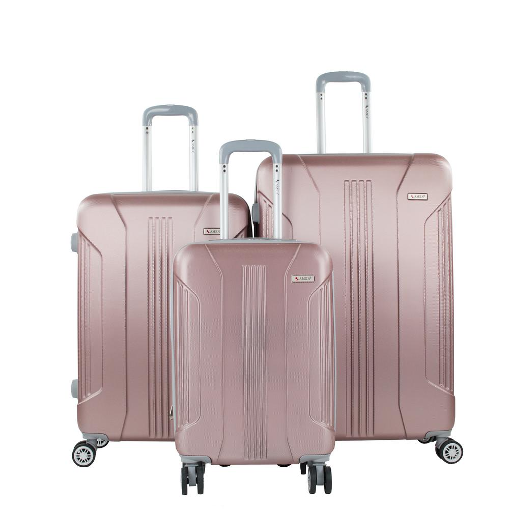 Sierra Rose Gold 3-Piece Expandable Hardside Spinner Luggage with TSA Lock