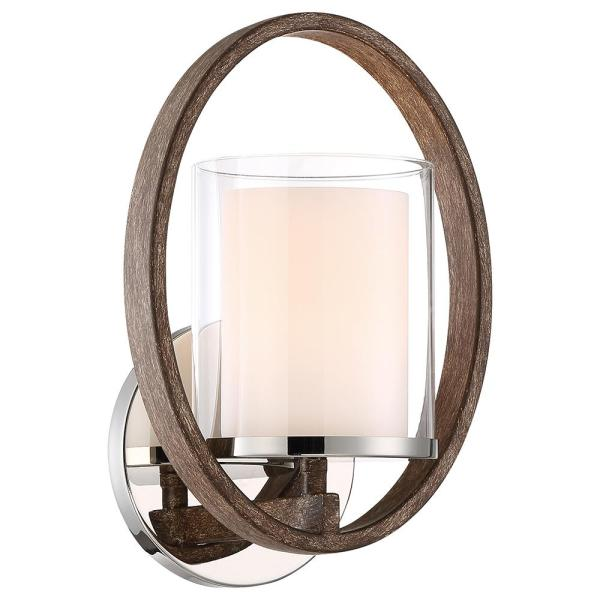 1-Light Polished Nickel/Corona Bronze Wall Sconce