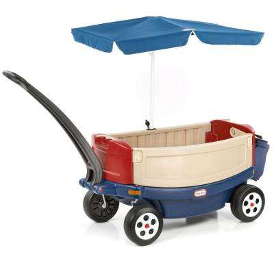 Kids Deluxe Ride and Relax Toy Pull Wagon with Umbrella and Cooler