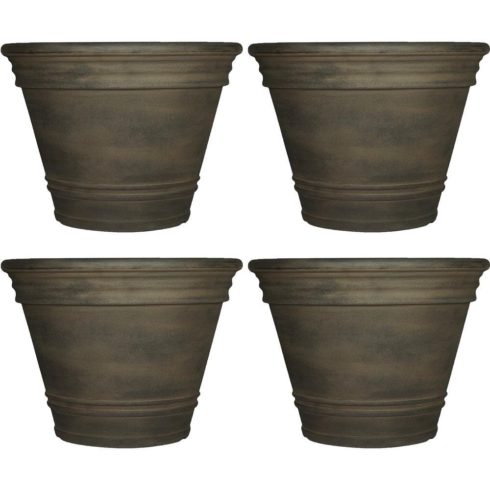 20 in. Sable Franklin Resin Outdoor Flower Pot Planter (4-Pack)