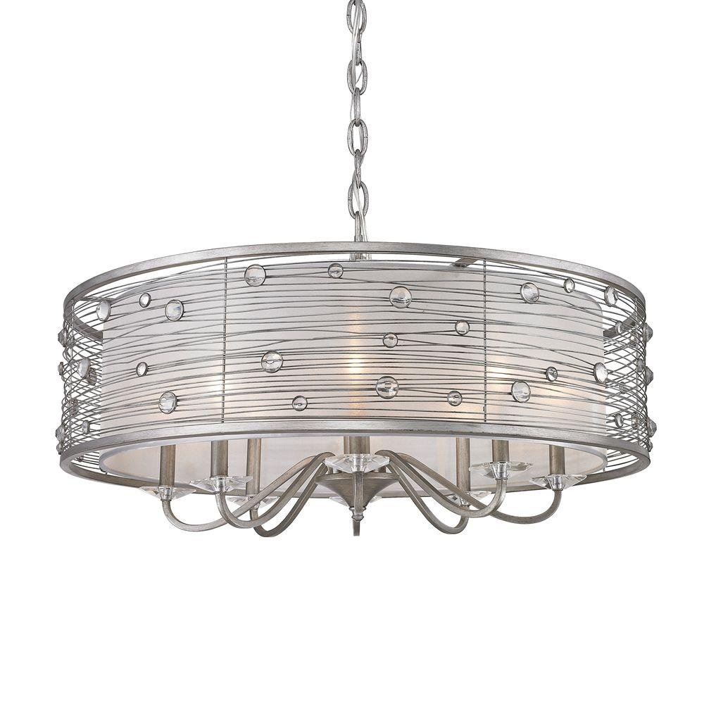 Amalya Collection 8-Light Peruvian Silver Chandelier