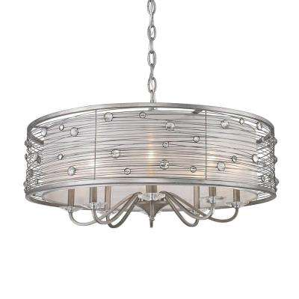 Amalya Collection 8-Light Peruvian Silver Chandelier