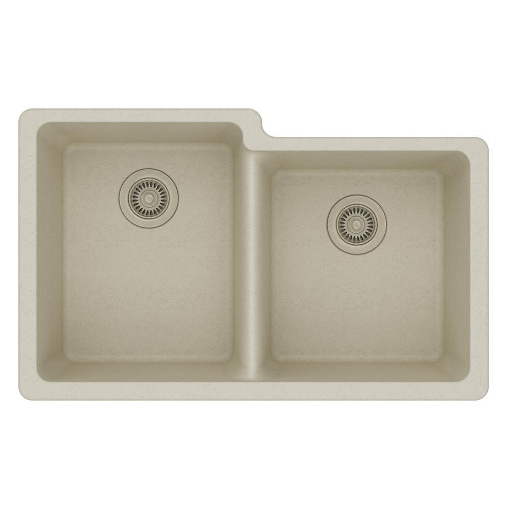 Quartz Classic Undermount Composite 33 in. Square Offset Double Bowl Kitchen Sink in Bisque