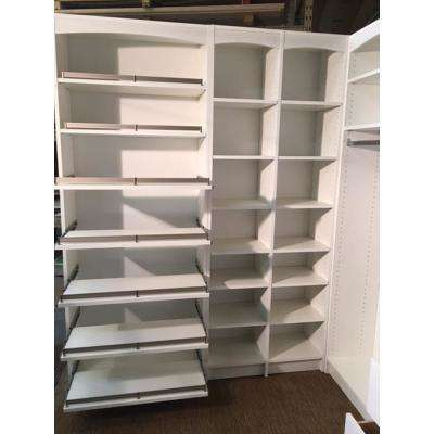 14 in. D x 32 in W x 84 in L Pull- Out Shelf Shoe Storage Melamine White Wood