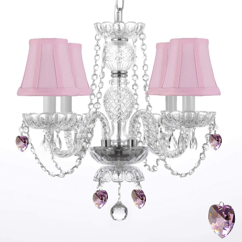 Harrison Lane Empress 4 Light Clear Crystal Chandelier With Pink Shades And Trimmed Swarovski