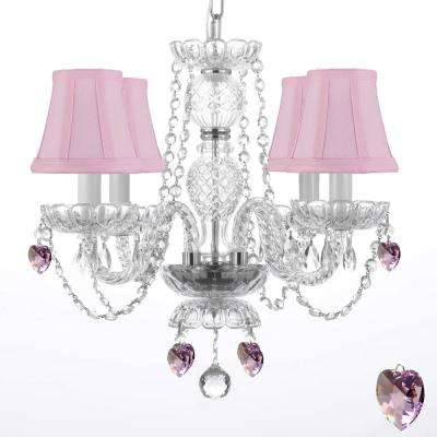 Empress 4-Light Clear Crystal Chandelier with Pink Shades and Pink Crystal Trimmed with Swarovski Crystal