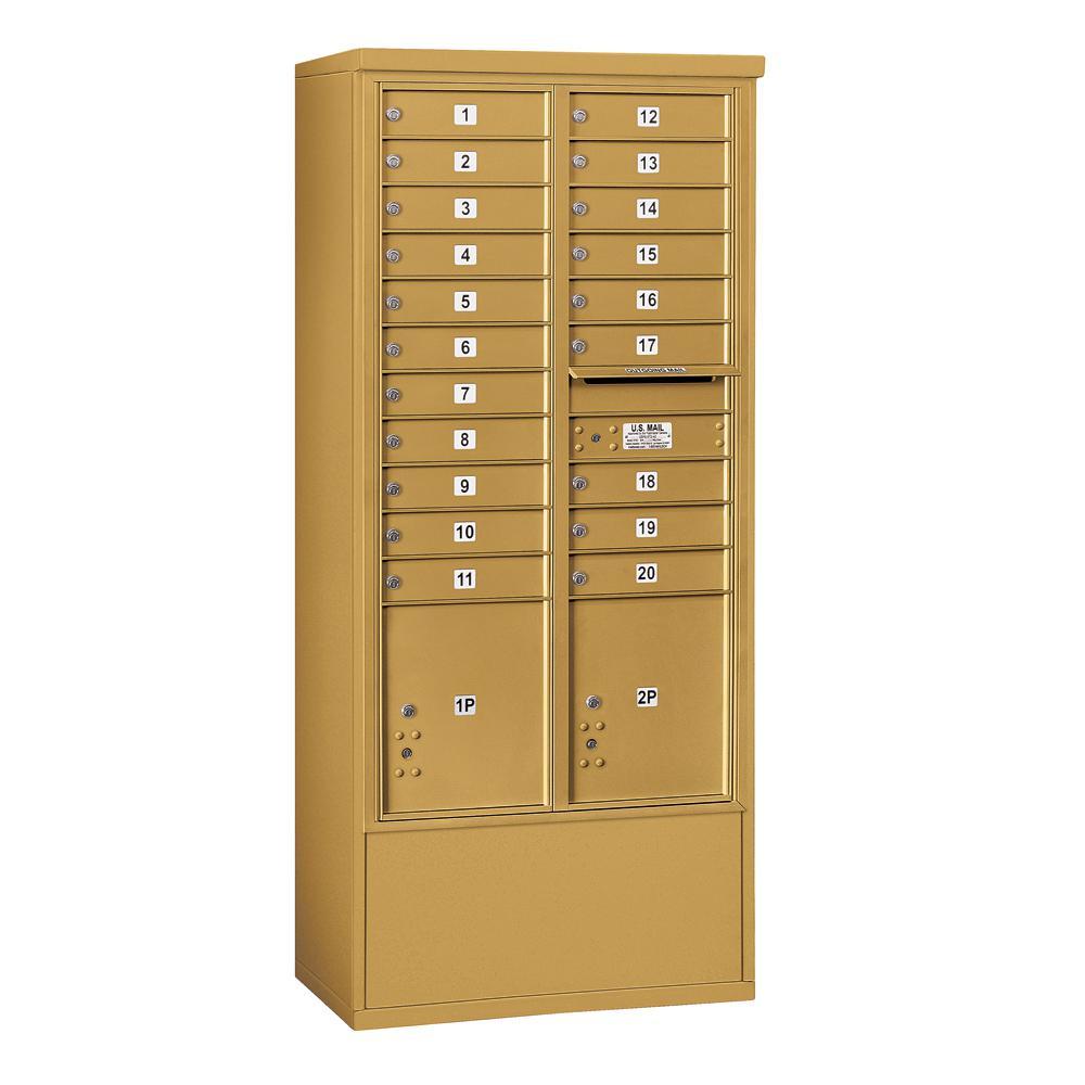 Salsbury Industries 3900 Horizontal Series 20-Compartment 2-Parcel Locker Free Standing Mailbox